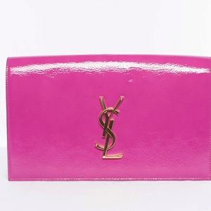 Authentic YSL Pink Patent Leather Clutch